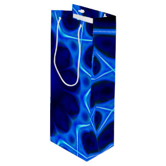 青いレーザー光線のフラクタル ワインギフトバッグ