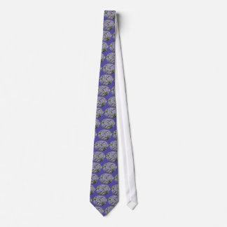 青いレースの帽子のアジサイの花 ネクタイ