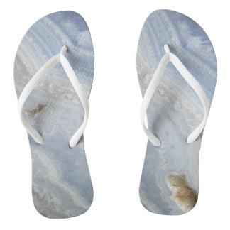 青いレースの瑪瑙の渦巻のカッコいいの自然の石 ビーチサンダル