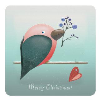 青いロビンのクリスマスの挨拶状 13.3 スクエアインビテーションカード