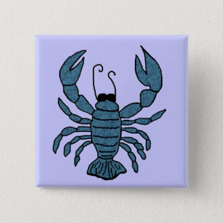 青いロブスターボタン 5.1CM 正方形バッジ