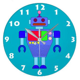 青いロボットおもちゃは柱時計をからかいます ラージ壁時計