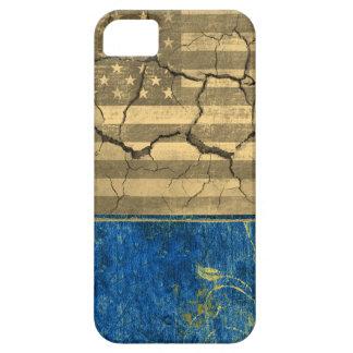 青いヴィンテージおよび米国旗の割れた壁 iPhone SE/5/5s ケース