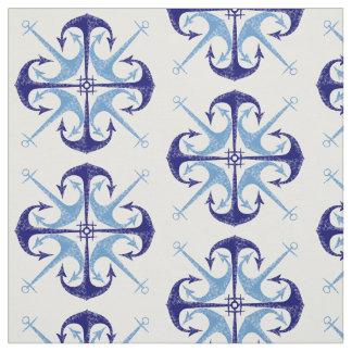 青いヴィンテージのいかりの航海のな男の子の部屋 ファブリック
