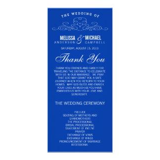 青いヴィンテージの優雅%PIPE%の結婚式プログラム ラックカード