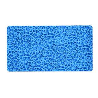 青いヴィンテージの花 ラベル
