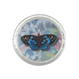 """青いヴィンテージの""""美しい蝶""""リング リング"""