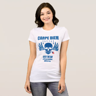 青いヴィンテージレトロのCarpe Diem。 日を握って下さい Tシャツ