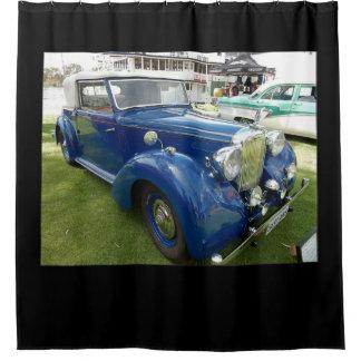 青いヴィンテージ車のシャワー・カーテン シャワーカーテン
