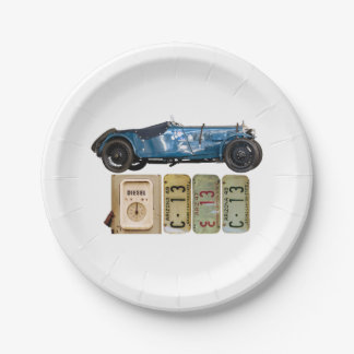 青いヴィンテージ車 ペーパープレート