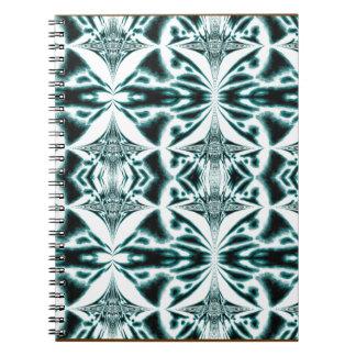 青い万華鏡のように千変万化するパターンのノート ノートブック