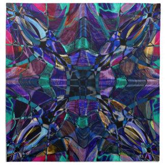青い万華鏡のように千変万化するパターンのフラクタル ナプキンクロス