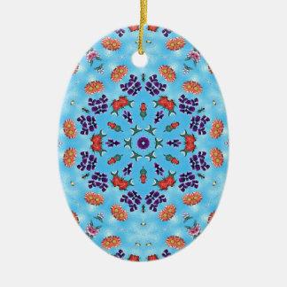 青い万華鏡のように千変万化するパターン セラミックオーナメント
