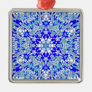 青い万華鏡のように千変万化するパターン メタルオーナメント