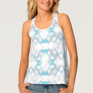 青い三角形パターン タンクトップ