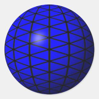 青い三角形球のステッカー ラウンドシール