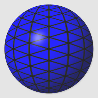 青い三角形球のステッカー 丸型シール