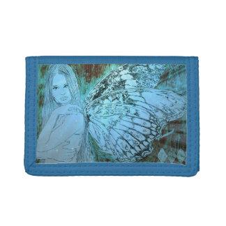 青い三重ナイロン財布のきらめきの妖精