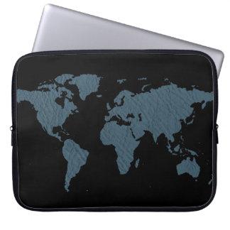 青い世界地図 ラップトップスリーブ