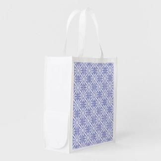 青い中世タイルの買い物袋 エコバッグ