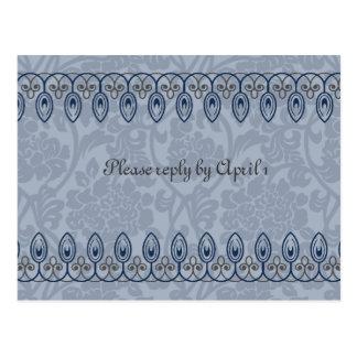 青い中世ブロケードのrsvp ポストカード
