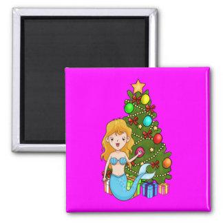 青い人魚およびクリスマスツリー マグネット