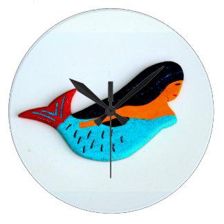 青い人魚の時計 ラージ壁時計