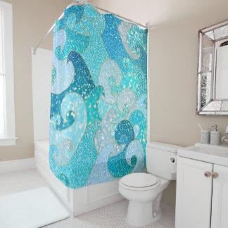 青い人魚の模造のなグリッターの海のティール(緑がかった色)の金ゴールドの海 シャワーカーテン