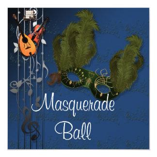 青い仮面舞踏会の招待状の緑のマスク カード