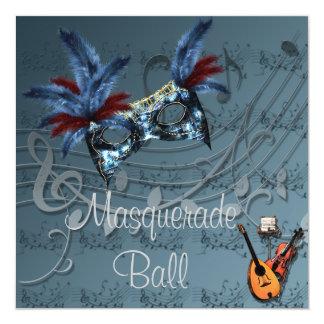 青い仮面舞踏会の招待状の青いマスク カード