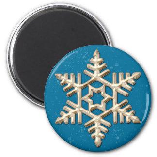 青い休日の磁石の金ゴールドの雪片 マグネット