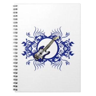 青い低音の青い花の円のデザイン ノートブック