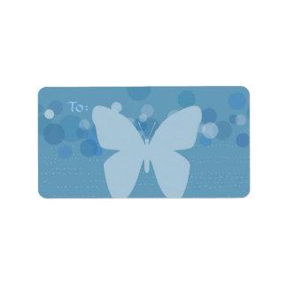 青い住所シールの蝶及び泡 ラベル