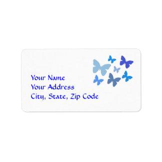 青い住所シールの蝶 ラベル