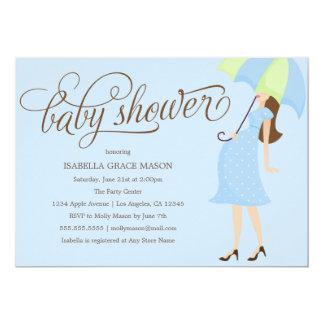 青い傘|のベビーシャワーの招待 カード