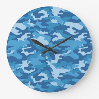 青い元の軍隊の軍の迷彩柄のカムフラージュの生地 ラージ壁時計