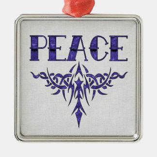 青い入れ墨の平和芸術 メタルオーナメント