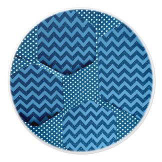 青い六角形の引出しのノブ セラミックノブ