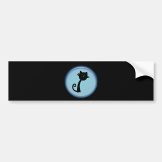 青い円のかわいい黒猫 バンパーステッカー