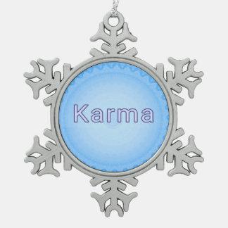 """青い円のシンプルの""""カルマ""""の雪片 スノーフレークピューターオーナメント"""
