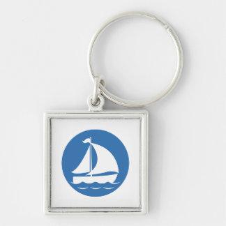青い円のヨット キーホルダー