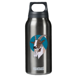 青い円の背景の白そしてブラウンのヤギ 断熱ウォーターボトル