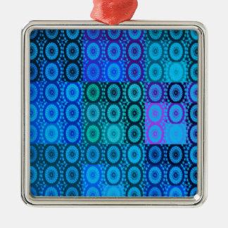 青い円はデジタル芸術をタイルを張ります メタルオーナメント