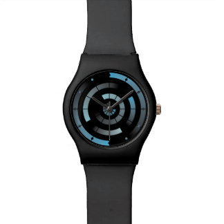 青い円パターンレーダーの腕時計 腕時計