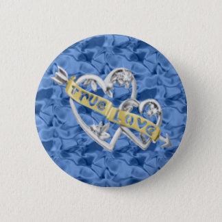 青い円形の本当愛によって結合されるハートボタン 5.7CM 丸型バッジ