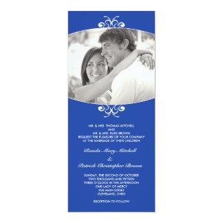 青い写真の結婚式招待状 10.2 X 23.5 インビテーションカード