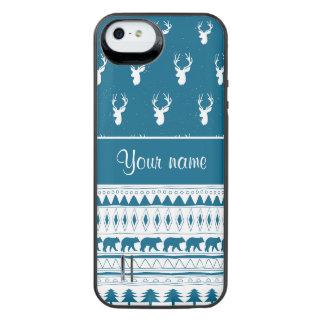 青い冬のシカの種族のアステカなパターン iPhone SE/5/5sバッテリーケース