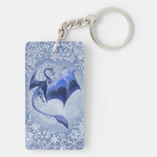 青い冬のドラゴンのファンタジーの自然の芸術 長方形(両面)アクリル製キーホルダー
