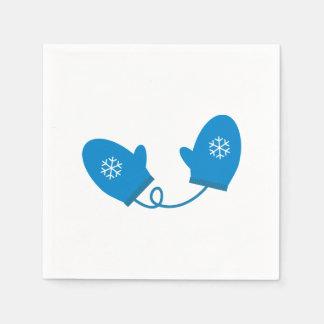 青い冬のミトンの紙ナプキン スタンダードカクテルナプキン