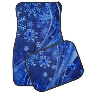 青い冬の雪片のクリスマス カーマット